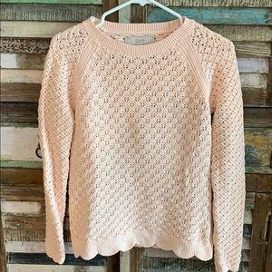 Loft Pale Pink Scalloped sweater